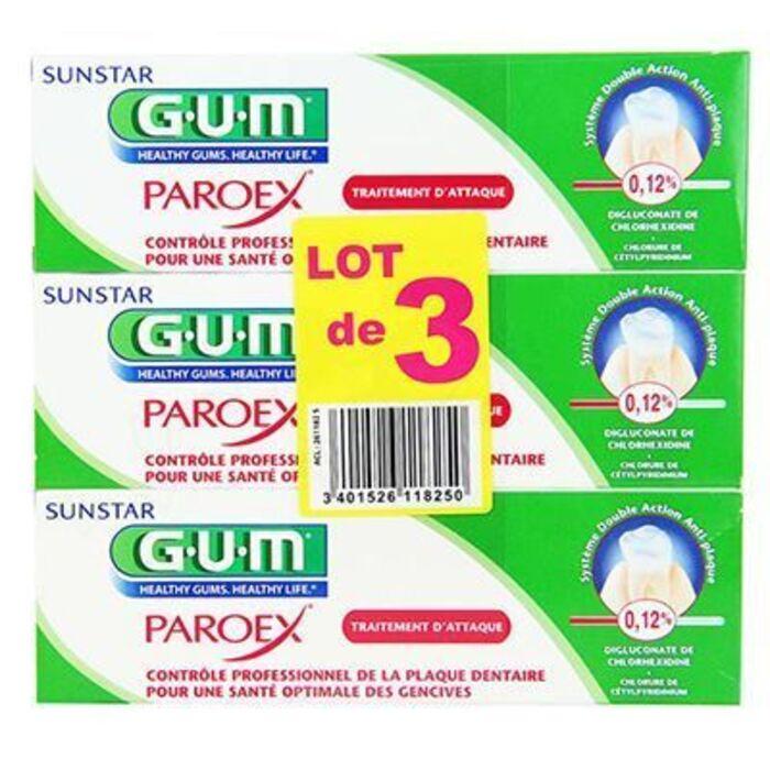 Gum paroex traitement d'attaque dentifrice lot de 3 x 75ml Gum-220280