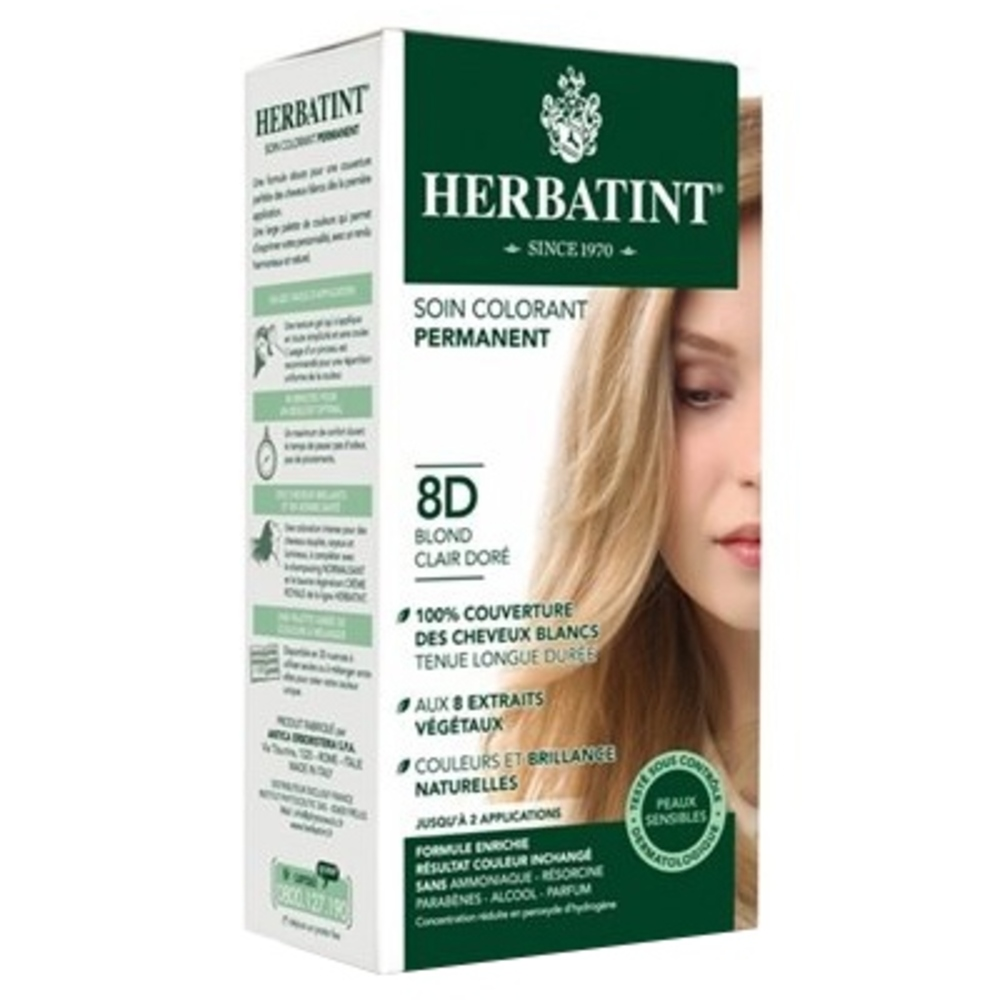 Herbatint coloration blond clair doré 8d - 120.0 ml - gel colorant - herbatint -5777