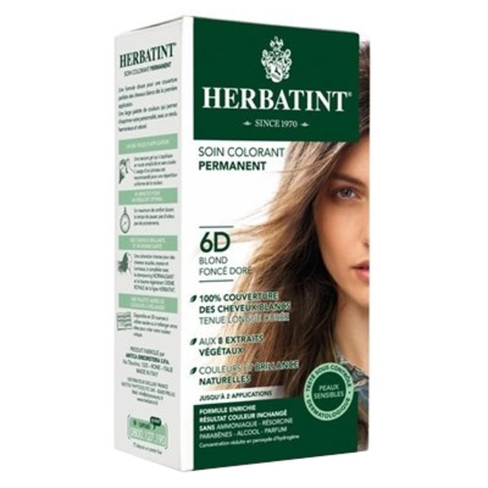 Herbatint coloration blond foncé doré 6d - 120.0 ml - gel colorant - herbatint -5775