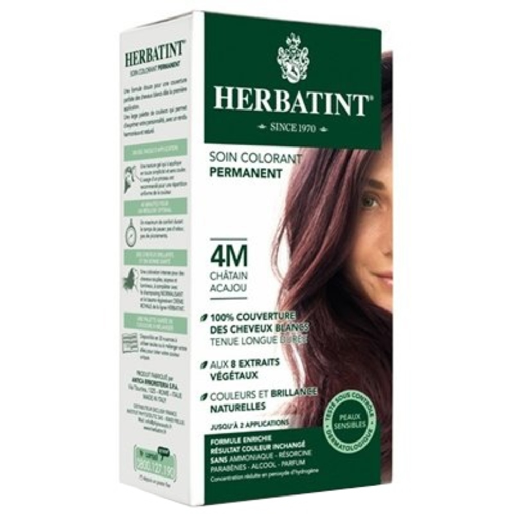 Herbatint coloration chatain acajou 4m - gel colorant - herbatint -5778