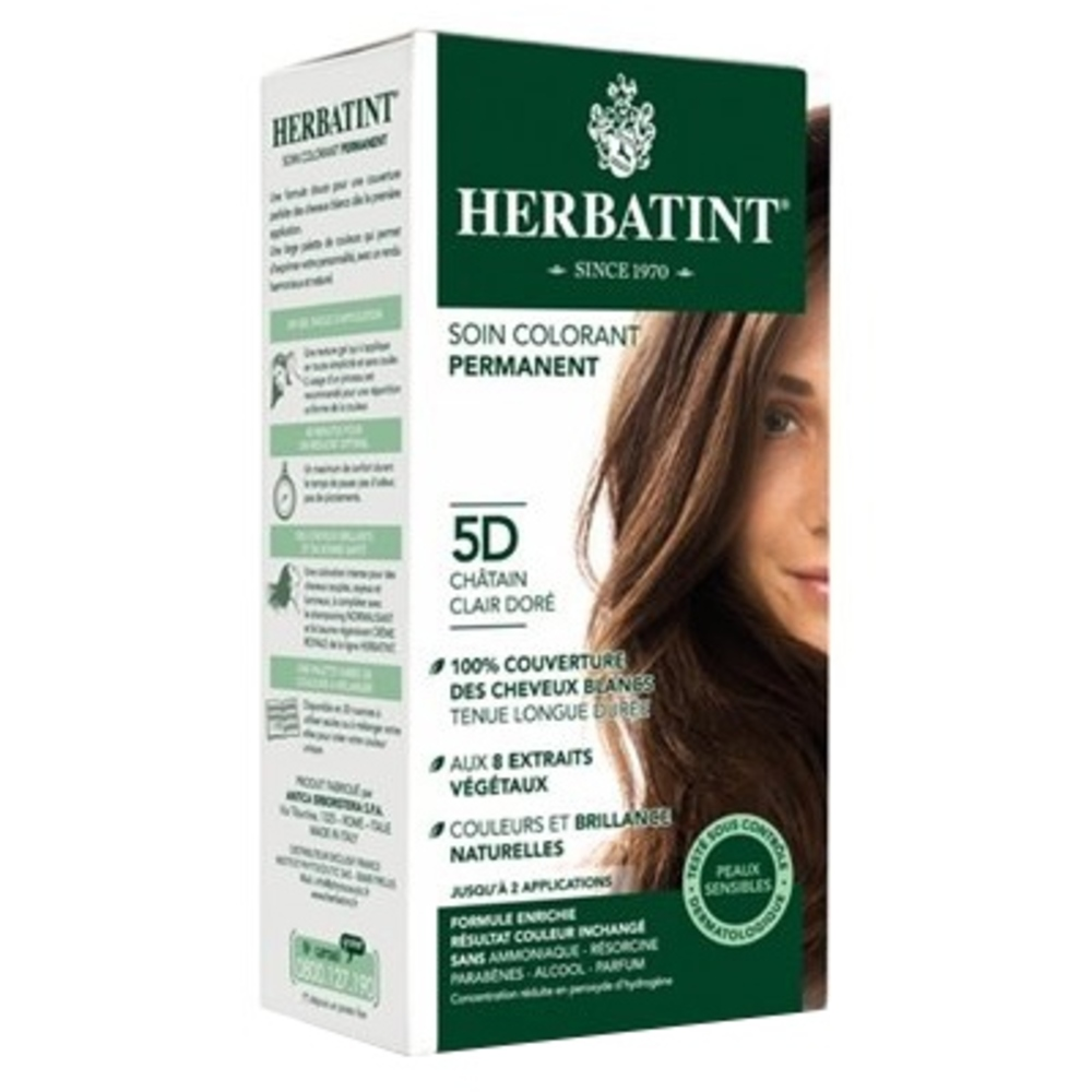 Herbatint coloration chatain clair doré 5d - 120.0 ml - gel colorant - herbatint -5774