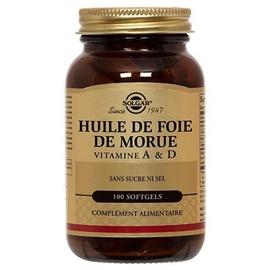 Huile de foie de morue 100 softgels - 100.0 unites - vitamines a & d - solgar -140960
