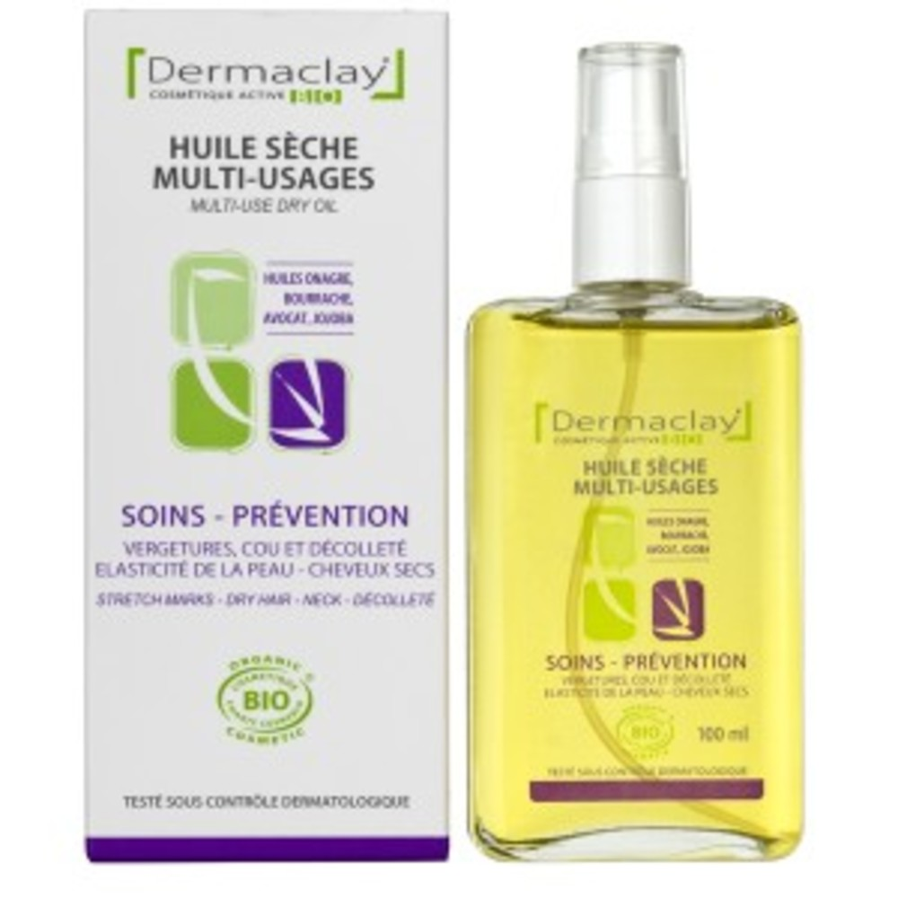 Huile sèche multi-usage - 100.0 ml - les huiles sèches soins corporels - dermaclay -4977