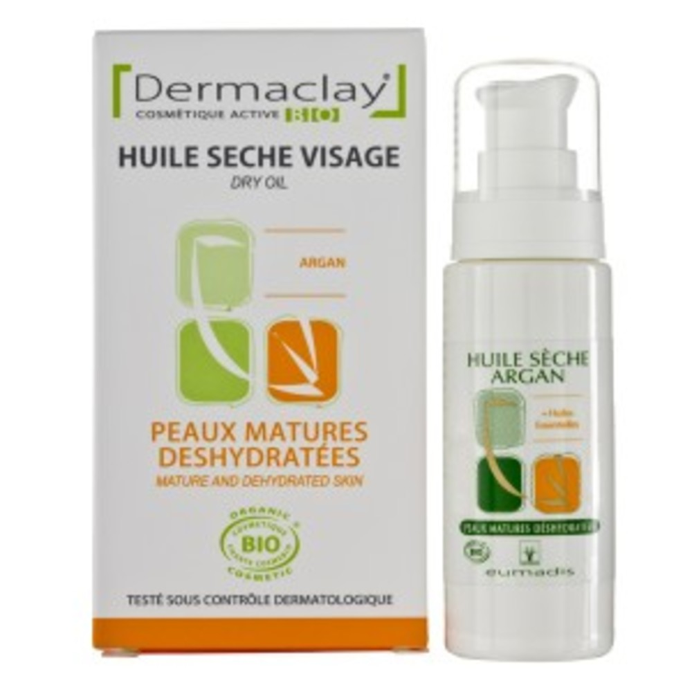 Huile sèche visage argan - 30.0 ml - huile sèches soin visage - dermaclay -6074