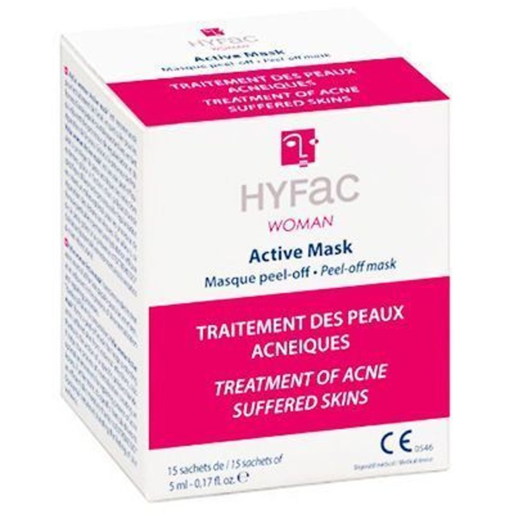 Hyfac woman active mask masque peel-off 15 sachets x 5ml - hyfac -219440