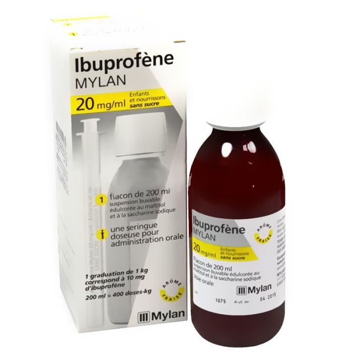 Ibuprofene 20mg/ml enfants nourrissons sans sucre - 200ml Mylan-206959