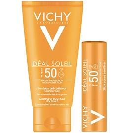 Idéal soleil emulsion anti-brillance spf50 50ml + stick lèvres spf30 offert - vichy -211163
