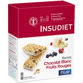 Insudiet barres chocolat blanc fruits rouges 6 portions - pileje -225526