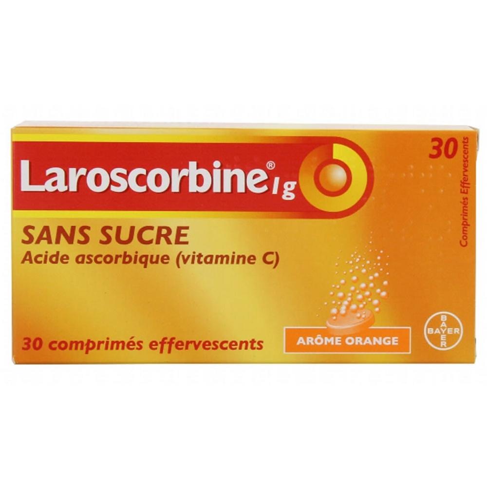 Laroscorbine sans sucre 1g - 30 comprimés effervescents - bayer -192579