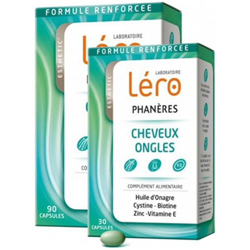 Lero phanères cheveux et ongles - 90 capsules + 30 capsules offertes - lero -210934