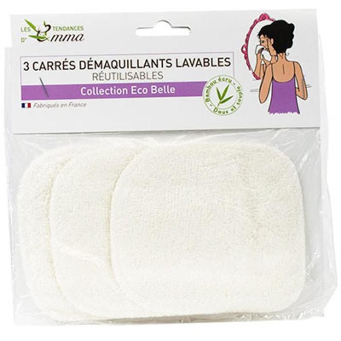 Les tendances d'emma 3 carrés démaquillants lavables bambou ecru Les tendances d'emma-142392