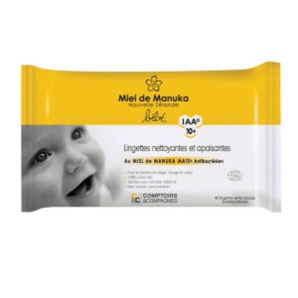 Lingettes nettoyantes et apaisantes miel de manuka iaa 10+ bio - 40... - divers - comptoirs & compagnies -143292