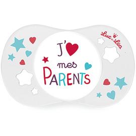 Luc et lea sucette silicone j'aime mes parents +18m - luc et lea -221291