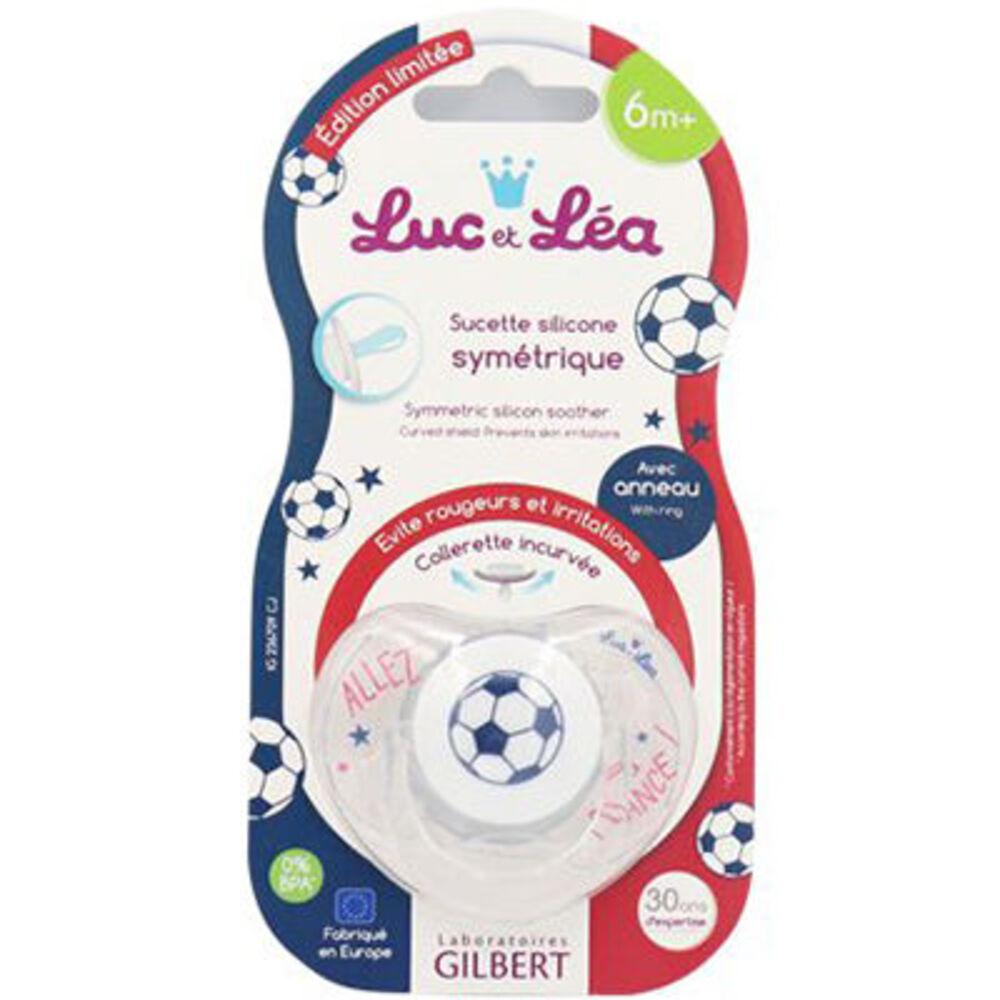 Luc et léa sucette silicone symétrique avec anneau foot +6m Gilbert-221288