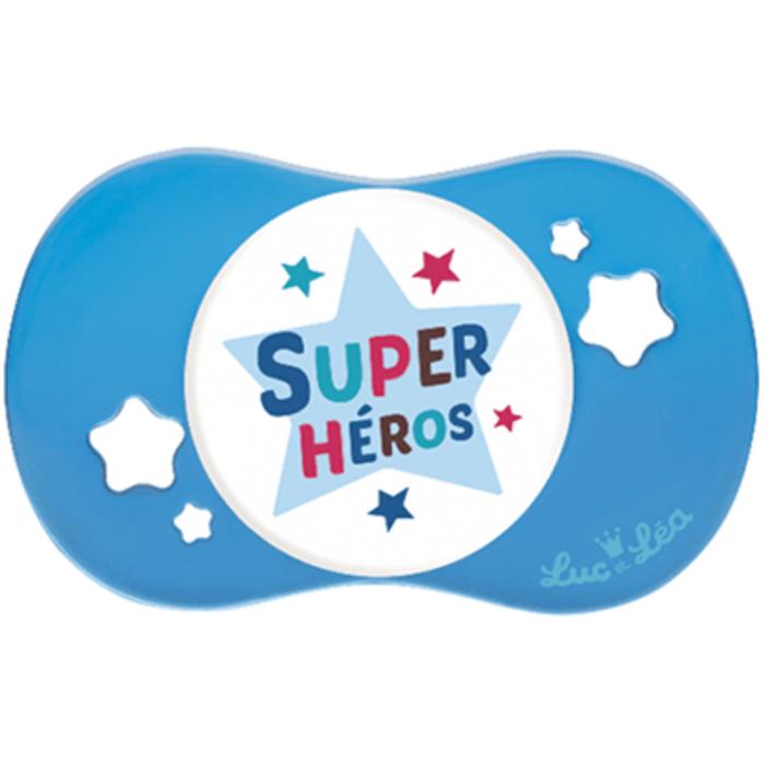 Luc et lea sucette silicone symétrique super héros +18m Luc et lea-221279