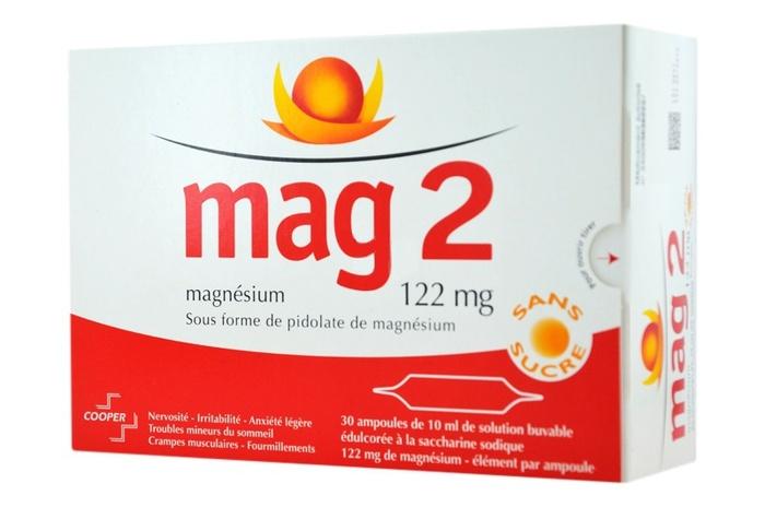 Mag 2 sans sucre 122mg - 30 ampoules x Cooper-192539