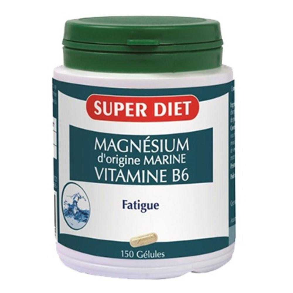 Magnésium marin + vitamione b6 gélules - 150.0 unites - les super nutriments - super diet Fatigue-138951