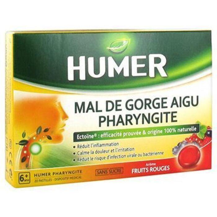 Mal de gorge aigu pharyngite fruits rouges 20 pastilles Humer-210083