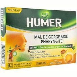 Mal de gorge aigu pharyngite sans sucre miel citron 20 pastilles - humer -225368