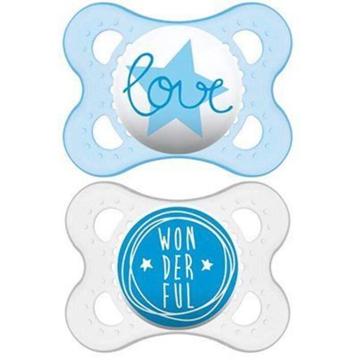 Mam décor sucette silicone 0-6mois bleu/gris x2 Mam-223765