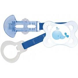 Mam sucette anatomique silicone 0-6mois + attache-sucette bleu - mam -205923