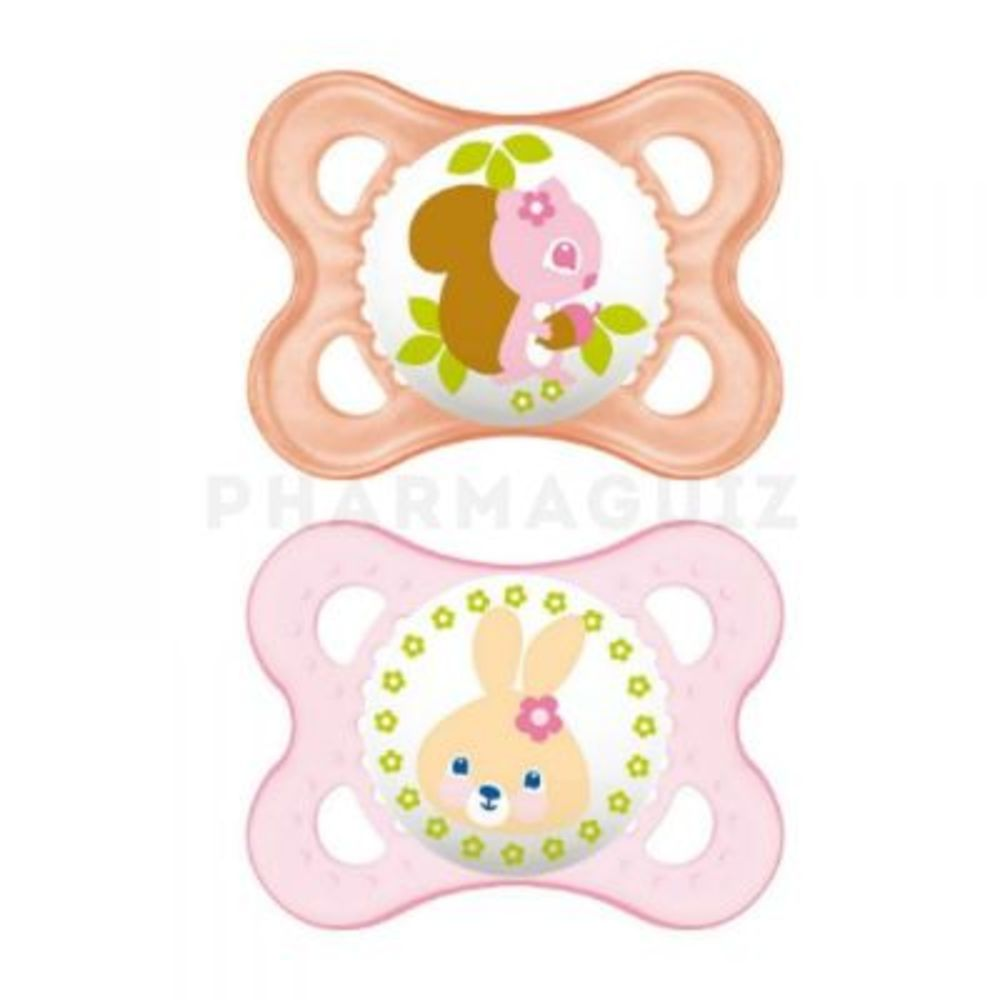 Mam sucette silicone 0-6mois animaux rose x2 - mam -143968