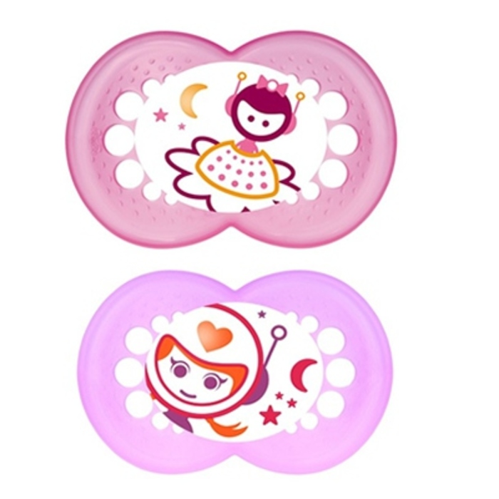Mam sucette silicone nuit +18mois blanc rose x2 Mam-201993