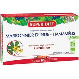 Marronnier d'inde hamamélis bio 20 ampoules - 20.0 unites - circulation - super diet Circulation-4457