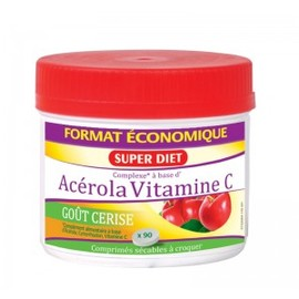 Maxi pot acérola vitamine c 500mg - 90.0  - vitamine c - super diet goût cerise-4598