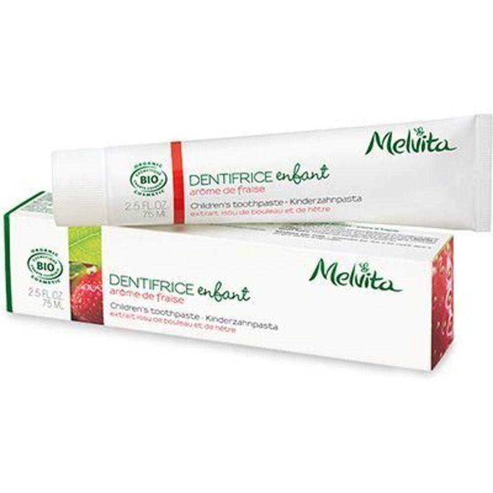 Melvita dentifrice enfant arôme de fraise bio 75ml - dentifrices aux arômes logo naturels - melvita -213452