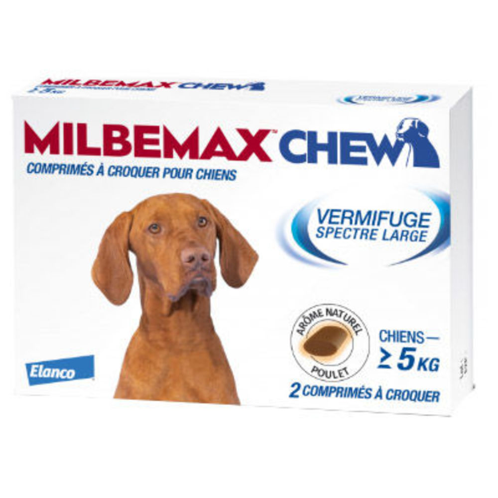 Milbemax chew vermifuge chiens +5kg - 2 comprimés - novartis -226693
