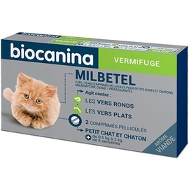Milbetel vermifuge chats et chatons < 2kg - 2 comprimés - biocanina -206038