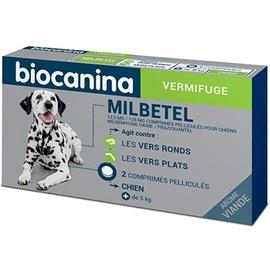 Milbetel vermifuge pour chiens +5kg - 2 comprimés - biocanina -206035