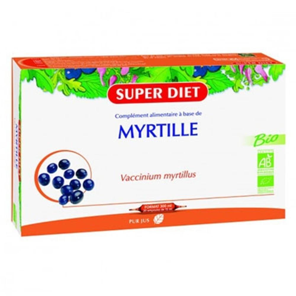 Myrtille bio - ampoules - 20.0 unites - vitalité - intellect - super diet Vision-4462
