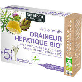 Nat & form draineur hépathique bio ampoules bio - nat & form -223712