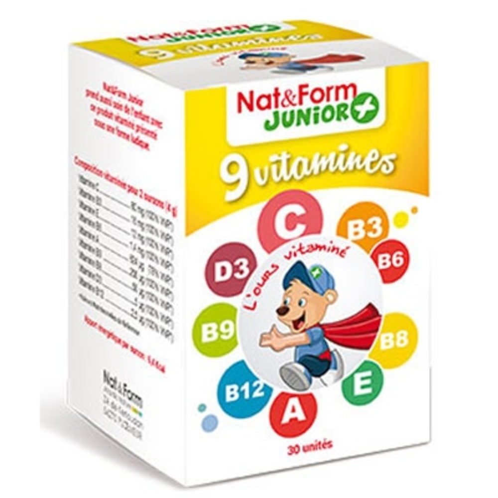 Nat & form junior+ 9 vitamines - 30 gommes - 30.0 unites - nat & form -6289