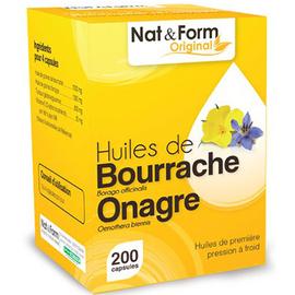 Nat & form original huiles de bourrache & onagre bio 200 gélules - nat & form -221161