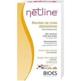 Netline bandes de cire dépilatoires visage x20 - 20.0 unites - cires dépilatoires à froid - bioes Spécial peaux sensibles-4606