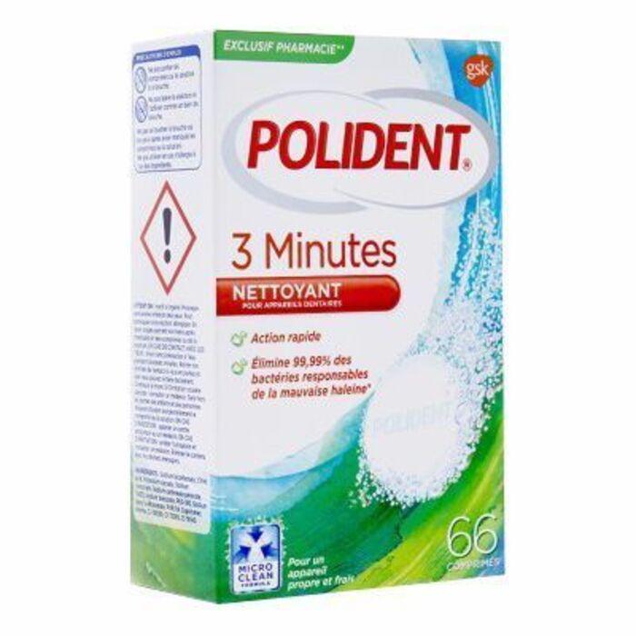 Nettoyant 3 minutes 66 comprimés Polident-214461