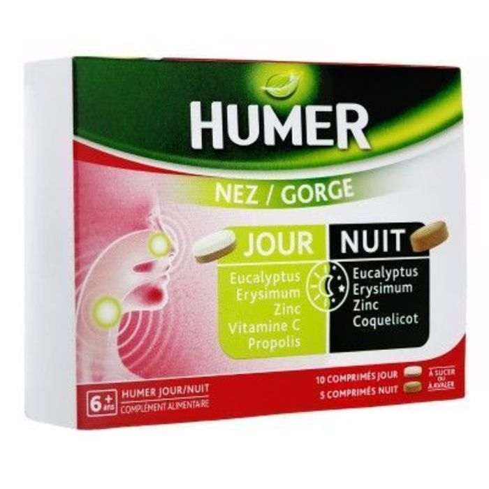 Nez/gorge jour et nuit 15 comprimés Humer-216062