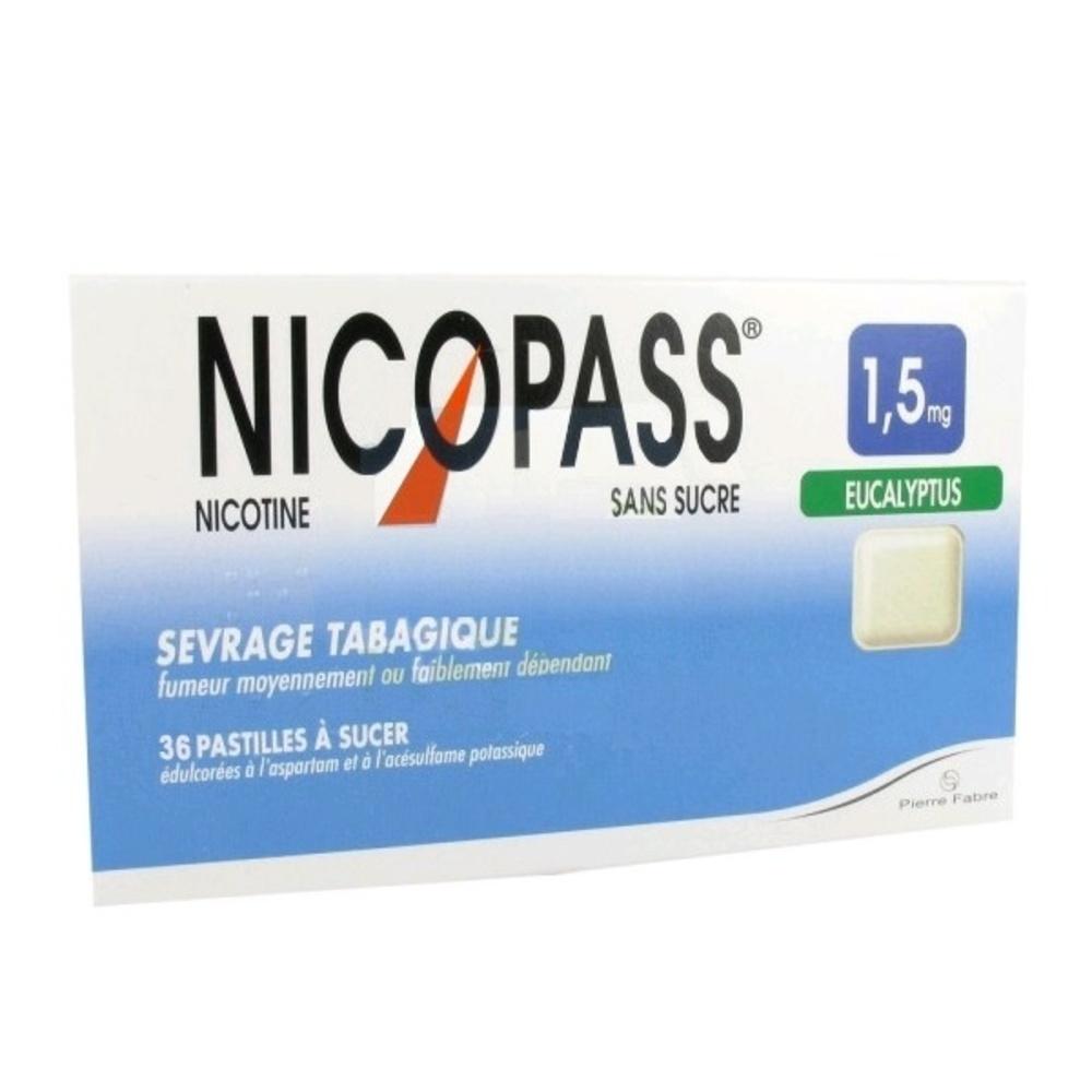 Nicopass 1,5mg sans sucre eucalyptus - 36 pastilles - pierre fabre -206844