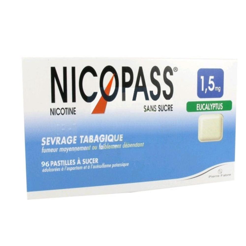 Nicopass 1,5mg sans sucre eucalyptus - 96 pastilles - pierre fabre -206885