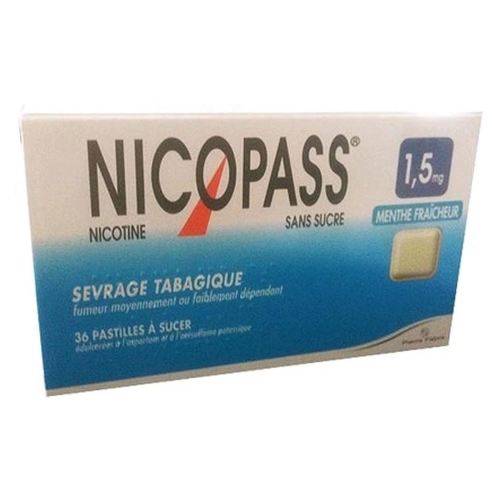 Nicopass 1,5mg sans sucre menthe fraîcheur - 36 pastilles - pierre fabre -194040