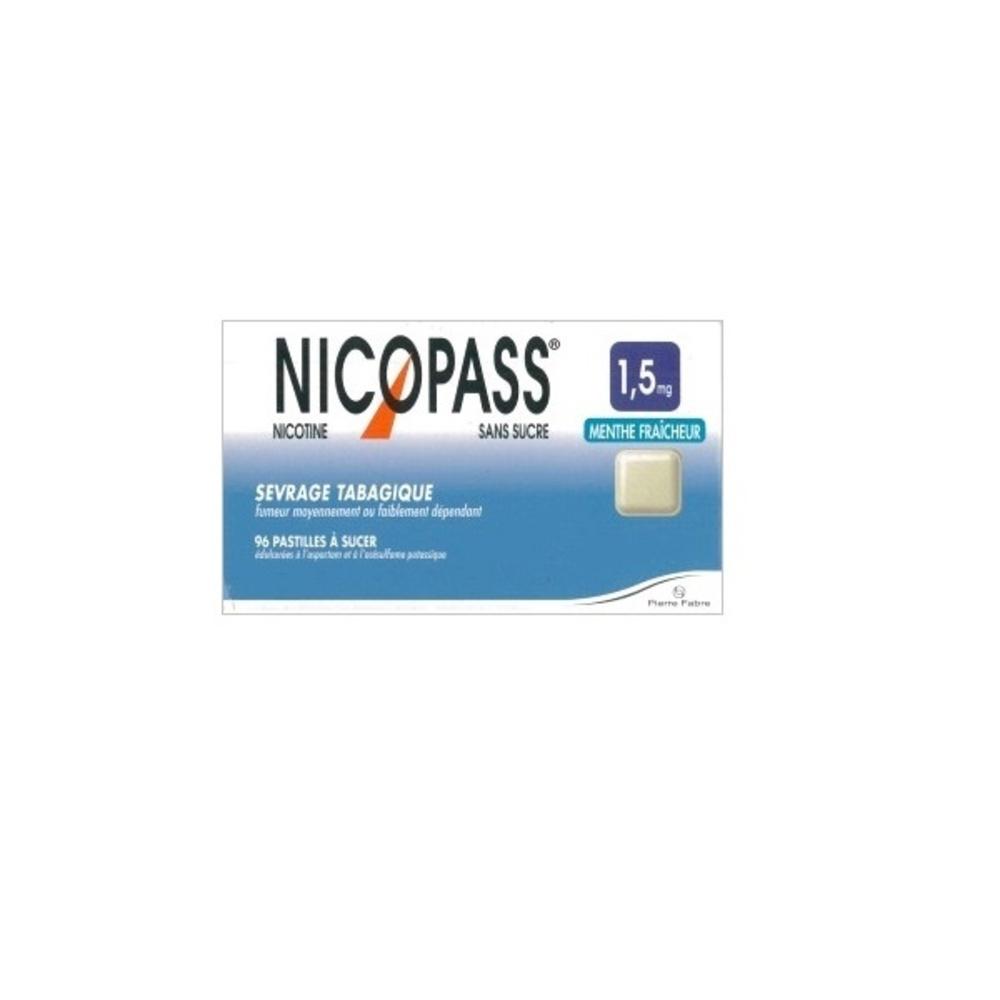 Nicopass 1,5mg sans sucre menthe fraîcheur - 96 pastilles - pierre fabre -194049