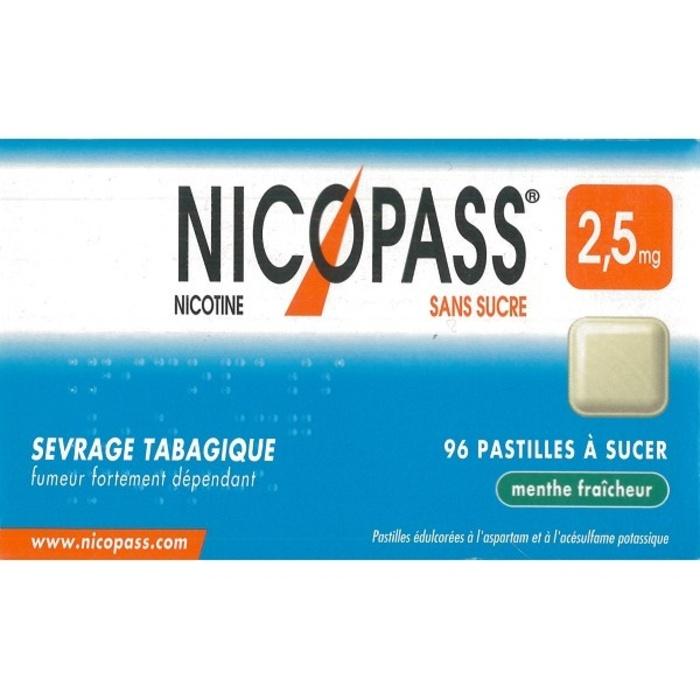 Nicopass 2,5mg sans sucre menthe fraîcheur - 96 pastilles Pierre fabre-194086