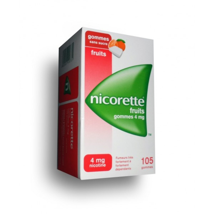 Nicorette fruits 4mg sans sucre - 105 gommes Johnson & johnson-194059