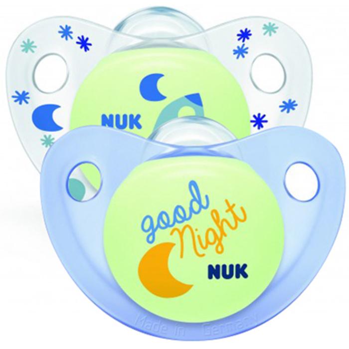 Nuk 2 sucettes phosphorescentes nuit garçon taille 3 +18mois Nuk-216325
