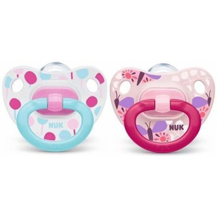 Nuk 2 sucettes silicone classic fille taille 1 0-6mois Nuk-220774