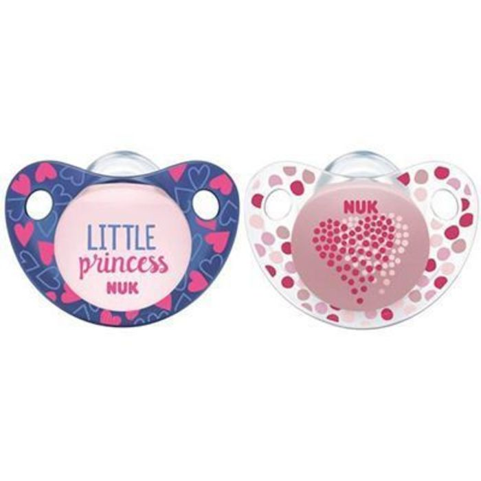 Nuk 2 sucettes silicone trendline fille taille 1 0-6mois Nuk-220782