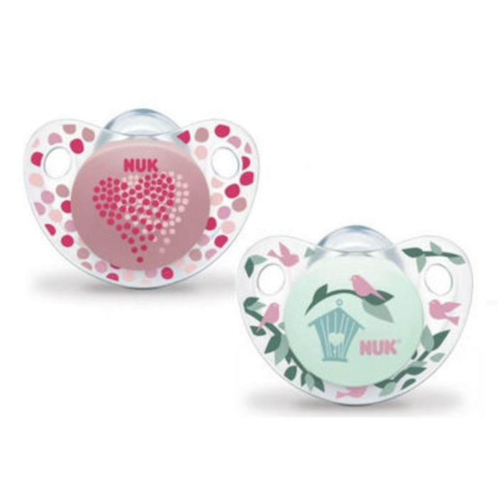 Nuk 2 sucettes silicone trendline fille taille 1 0-6mois Nuk-214874